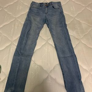Ultra high rise denim blue jeans